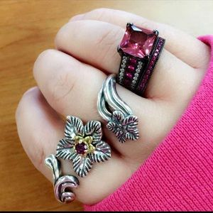 Pink and white  CZ ring